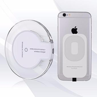 Harga (Bundle Pack) FANTASY Wireless Charger with Free Qi Receiver for iPhone 7, 7 Plus, 6S, 6S Plus etc (white) (White)