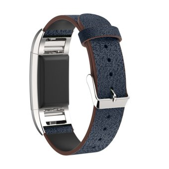 Harga Bluesky Luxury Genuine Leather Band Strap Bracelet For Fitbit Charge 2, Blue - intl