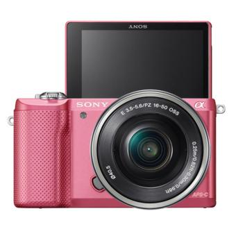Sony Singapore α5000 / ILCE-5000 E-mount Camera with APS-C Sensor + SELP1650 Lens Kit (Pink)