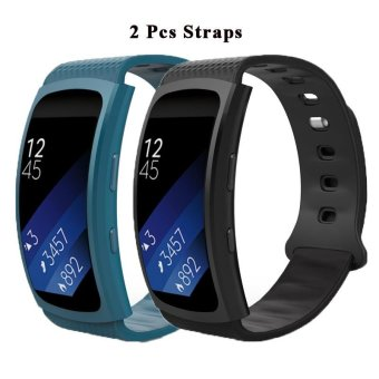 Harga 2 Pcs Soft Silicone Replacement Sport Bands for Samsung Gear Fit 2 SM-R360 Smart Watch - intl