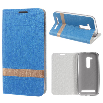Harga Lines Texture Two-tone Leather Stand Shell for Asus Zenfone Go (ZB452KG) - Baby Blue - intl