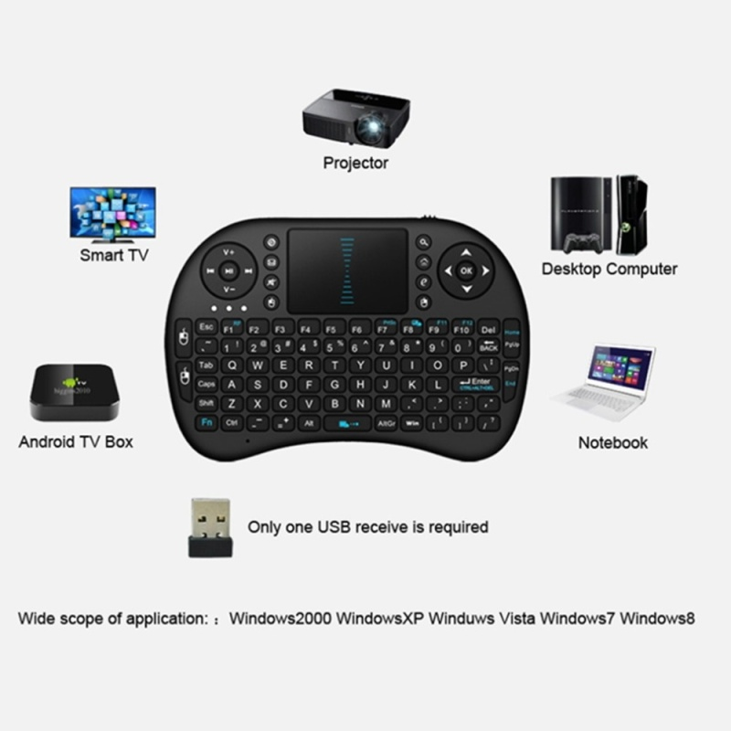 Kasdgaio Mini Wireless Keyboard 2.4G with Touchpad Handheld Keyboard for PC Android TV High Sensitivity Touch Template Removable Battery Singapore