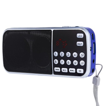 L - 088 Portable FM Radio Speaker Music Player with TF Card USB AUX Input Blue Red - intl