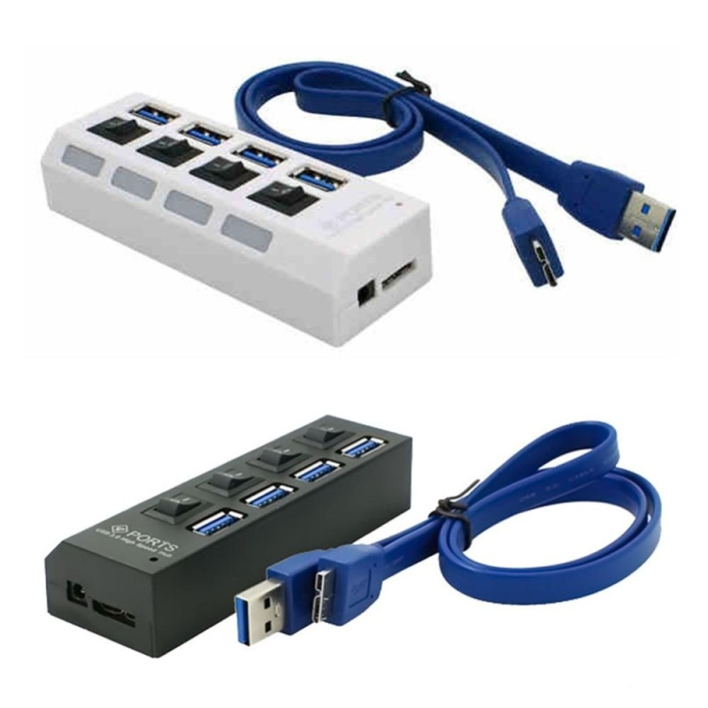 LED 4 Port USB 3.0 Hub High Speed Adapter with Individual On/Off Switch for Laptop PC Color:white - intl