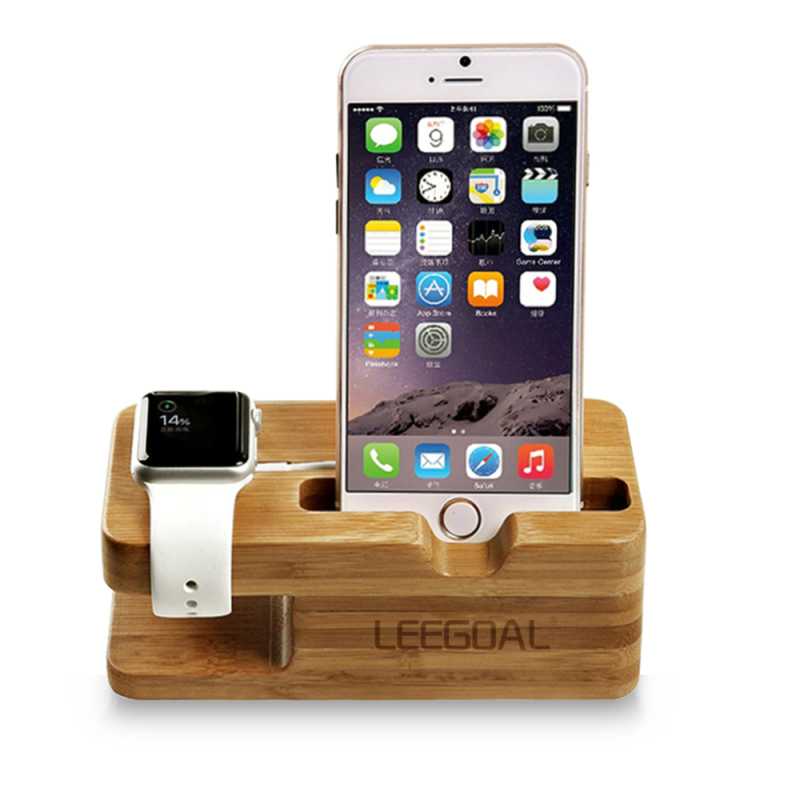 niceEshop Bamboo Wood Charging Stand Station Dock For Apple Watch IPhone(Yellow) Singapore