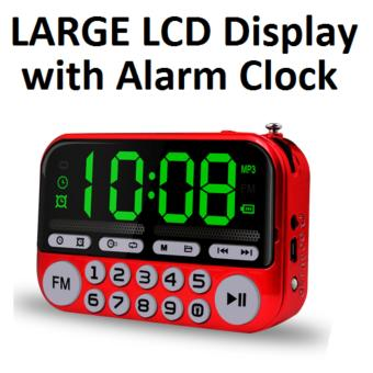 Portable FM Radio with Large LCD Display Speaker MP3 Player Clock USB Torch Red