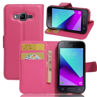PU Leather Flip Cover Case For Samsung Galaxy J1 Mini Prime (Rose Red) - intl