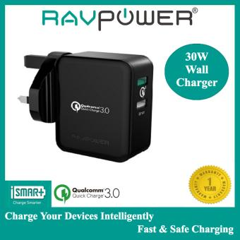 Harga ?RAVPOWER? 30W Dual USB Wall Charger with Quick Charge 3.0 (Black)
