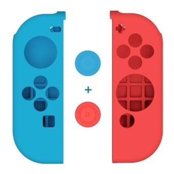 Seeme Joy-Con Gel Guards with Thumb Grip Caps, Protective Skin Anti-Slip Lightweight Comfort Blue and Red for Nintendo Switch - intl