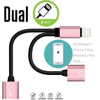 SunnyShop Dual Lightning Adapter 2 in 1 Lightning Audio Headphone Splitter and Charging Cable for iPhone 7/7 Plus