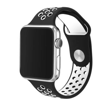 top4cus Original 1:1 Series 2 Silicone Band for Apple Nike+ iwatch Replacement Soft Sport Band for Apple Watch iwatch--Black/White--Small/Medium--38MM - intl