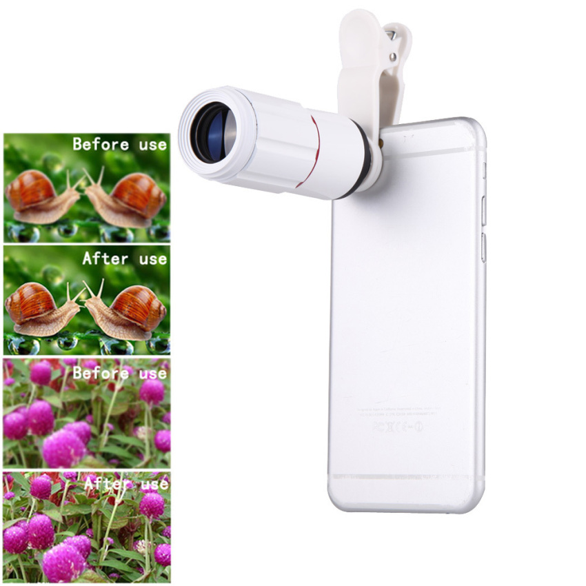 Universal 8X Zoom HD Optical Lens Telescope for Mobile Phone Camera (White)