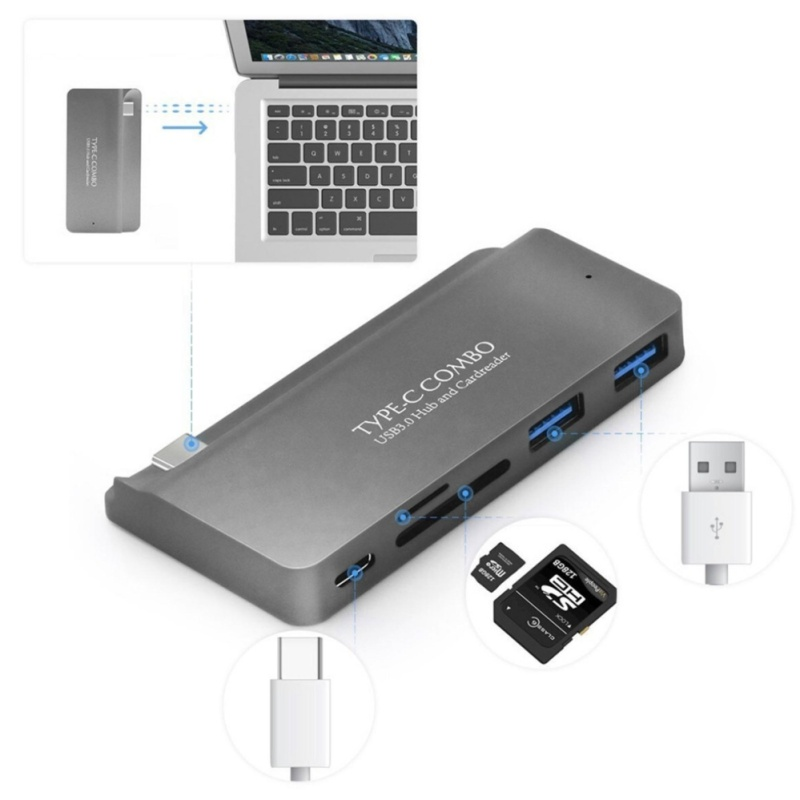 USB 3.1 Type C To USB-C PD 2 USB 3.0 Hub SD TF Card Reader Adapter For 12 Macbook - intl