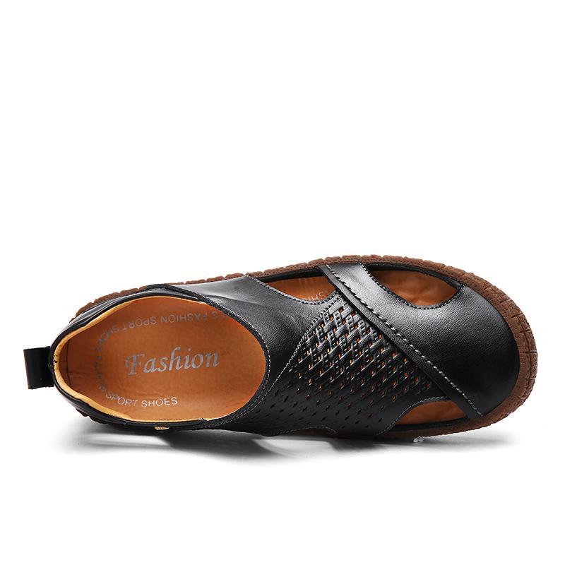 Pinsv Merek Pria Kasual Sepatu Sandal Kulit Asli Sepatu Kasual Pria-Internasional - 3
