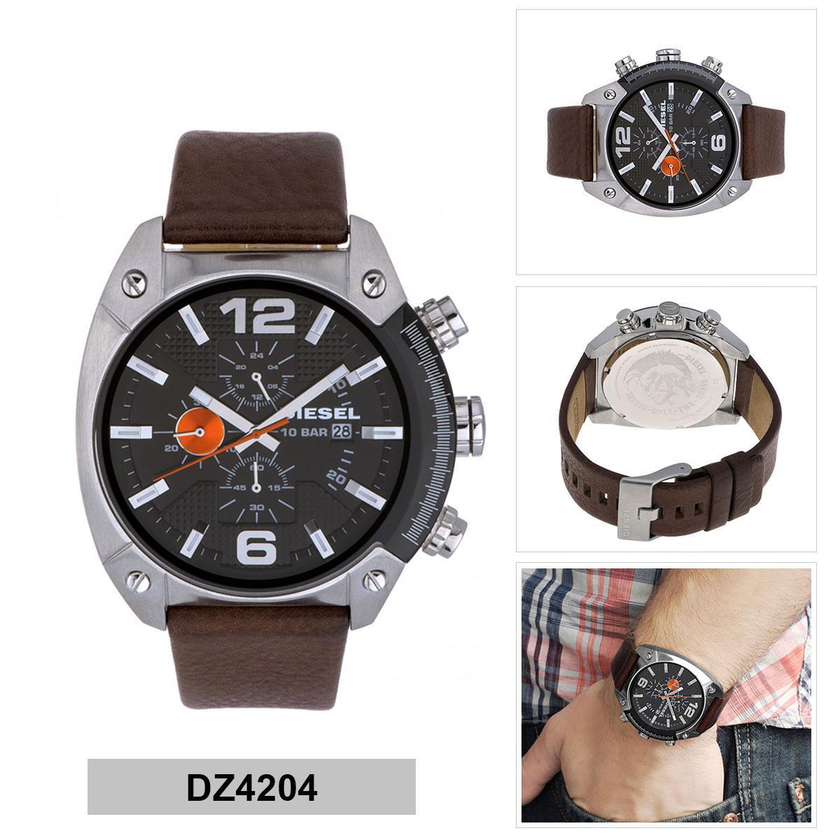 ยี่ห้อนี้ดีไหม  โคราช Authentic Diesel Overflow Brown Stainless-Steel Case Leather Strap Mens DZ4204 2 Years Warranty
