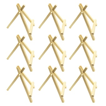 10 PCS Pine Wood Mini Easel Triangle Artist Painting Table WeddingNumber Name Menu Card Display Stand Board - intl
