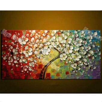 100% hand painted flowers tree oil painting on canvas modern home art decoration