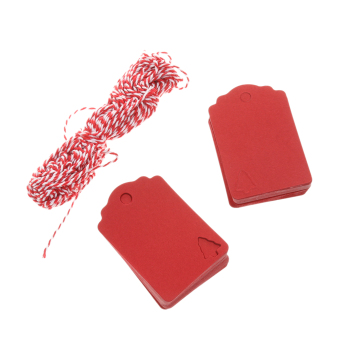 100 Kraft Tags Present Gift Labels with Christmas Tree Blank Hang Tags Red - intl
