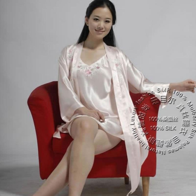 100% Silk Pajamas Women Nightgown Bathrobe Silk Sling Lingerie Embroidered Two-Piece Sets Brand Silk