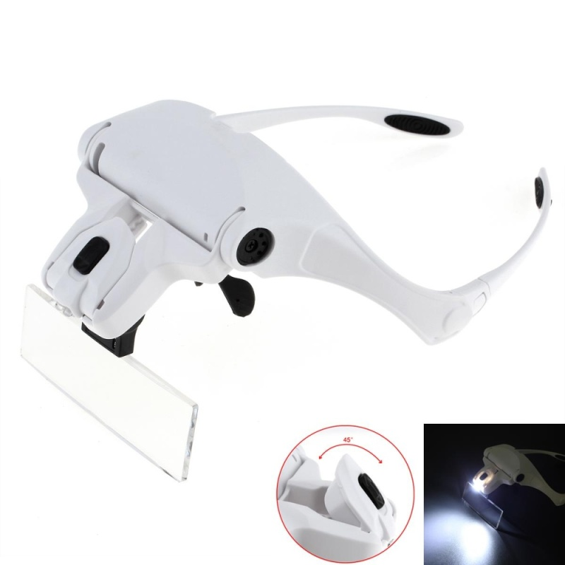1.0X 1.5X 2.0X 2.5X 3.5X 5 Lens Adjustable Loupe Eyeglasses Bracket / Headband Interchangeable Magnifying Glass Magnifier with LED Lights - intl