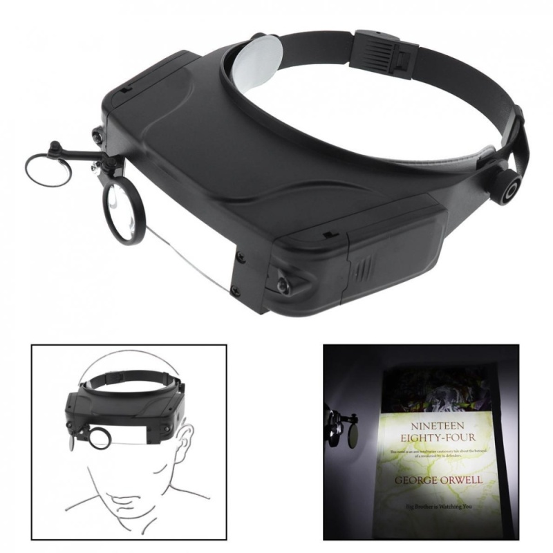 11X Headband Type Magnifying Glass with LED Light and 3 Magnifying Lens - intl