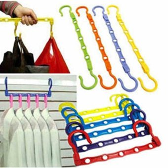 1x 5 Holes Windproof Magic Hangers Save Closet Space Household Clothes Organizer - intl
