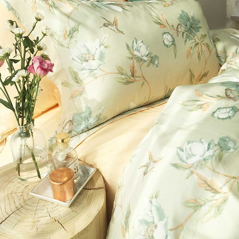2017 spring 60 branch satin plant flower Cotton Four sets of doublequilt sheets 1.8 m bed supplies