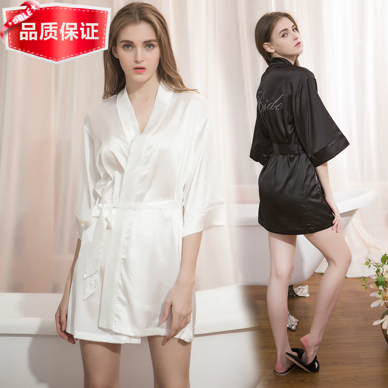 2017 spring and summer sexy pajamas female noble silk nightgown Angel inlaid diamond bathrobe boutique bathrobe Home Service
