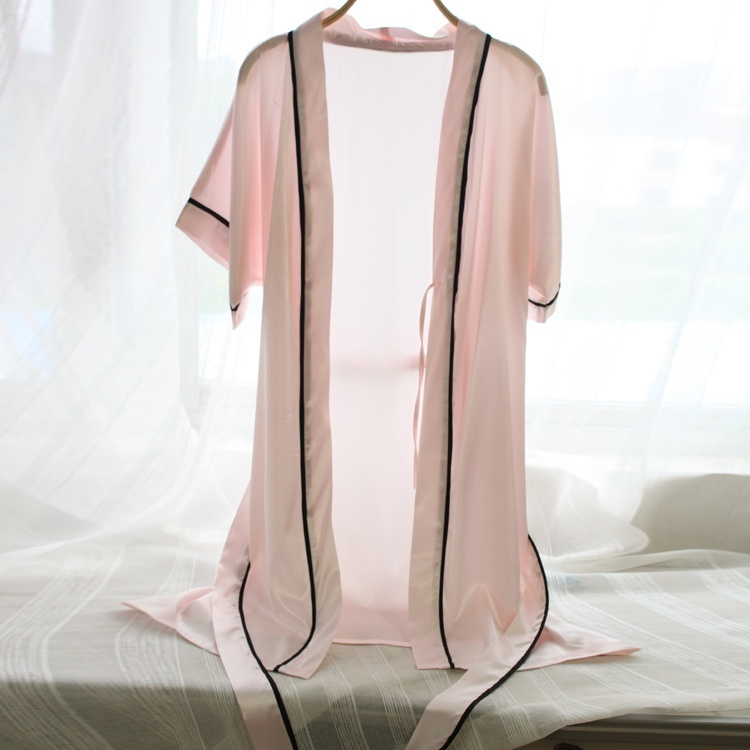 2017 spring and summer sexy silk nightgown Ms. heavy pound silk tracksuit pajamas short-sleeved bathrobe