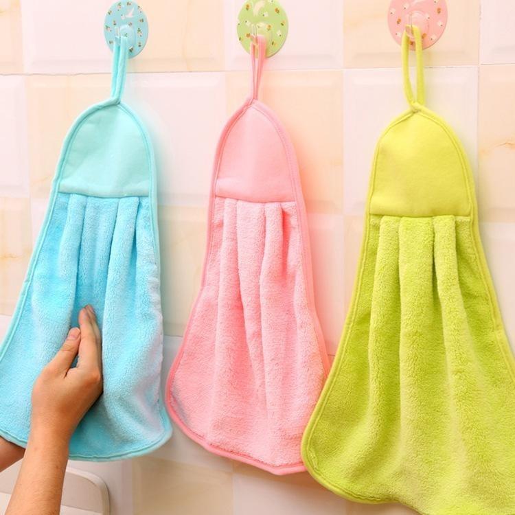 2pcs Home Hand Towel Soft Plush Hanging Wipe Bathing Towel Kitchen Towel - intl