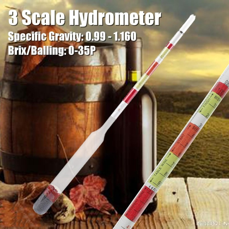 3 Scale Triple Hydrometer Transparent for Beer Wine Home Brewing Craft Homebrew - intl