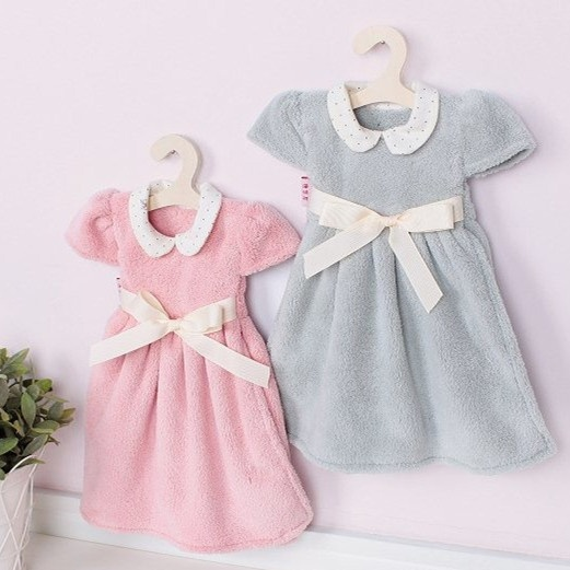 3, super soft absorbent hanging towel coral velvet princess skirt wipe hand towel to wipe hand cloth with hanger