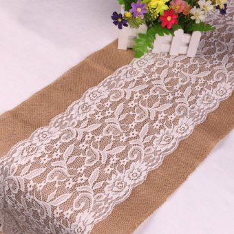 30*108cm Vintage Burlap White Lace Hessian Wedding Table Runner Natural Jute Table Decorations - intl