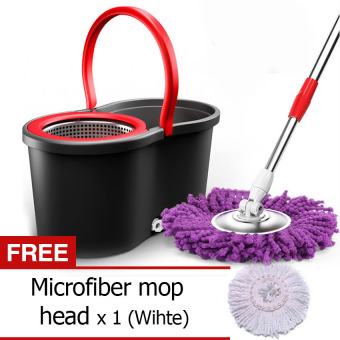 360 degree retractable Magic Spin mop 2 Heads Microfiber Rotating - Black + Free Microfiber rotating mop head - White [Buy 1 Get 1 Free]