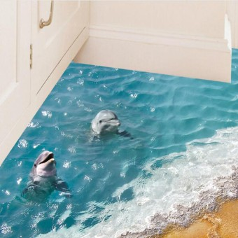 3D Blue Sea Floor Sticker Beach Wall Sticker Waterproof Removable Mural Decals For Home Decoration