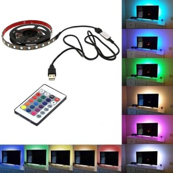 5050 USB Light RGB Multi Color LED Strip Light 24 Keys Remote Control( size: