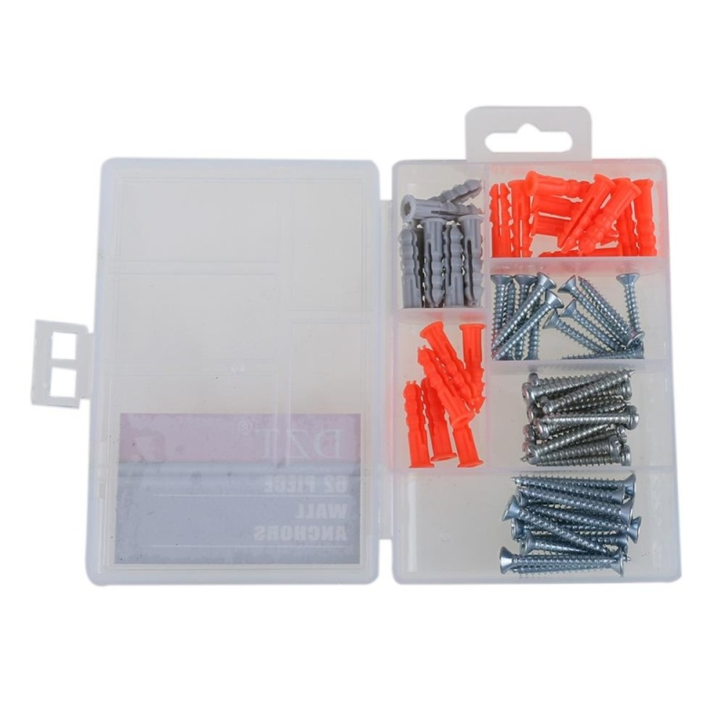 62pcs Wall Anchor Expansion Screw Small Screws Hardware Clear - intl