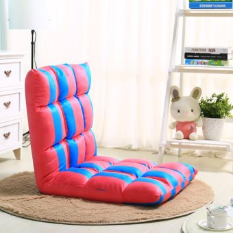 Adjustable Foldable Floor Sofa Chair Bed RedBlue Stripe