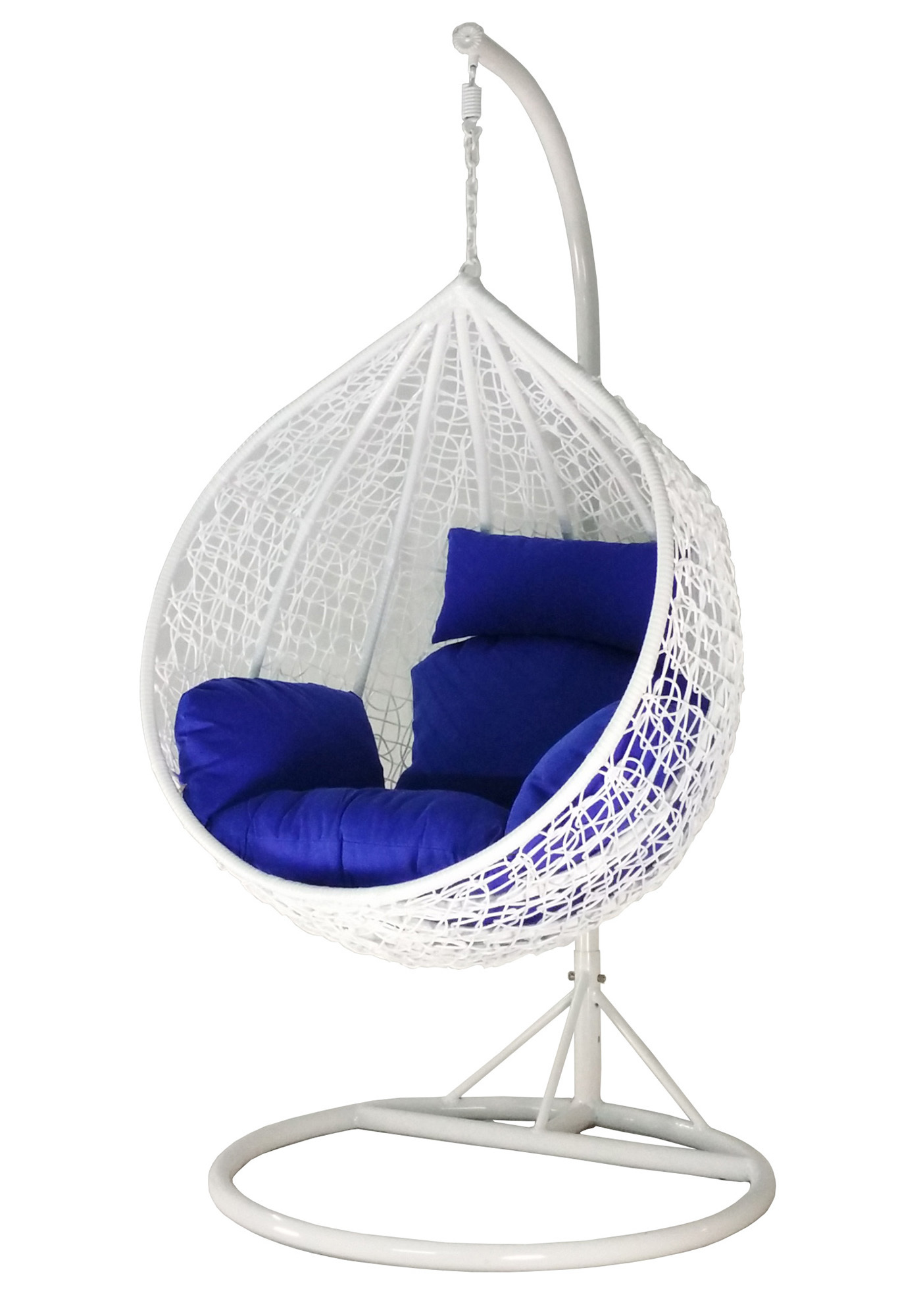 amber initial white rattan swing chair with blue cushion cover