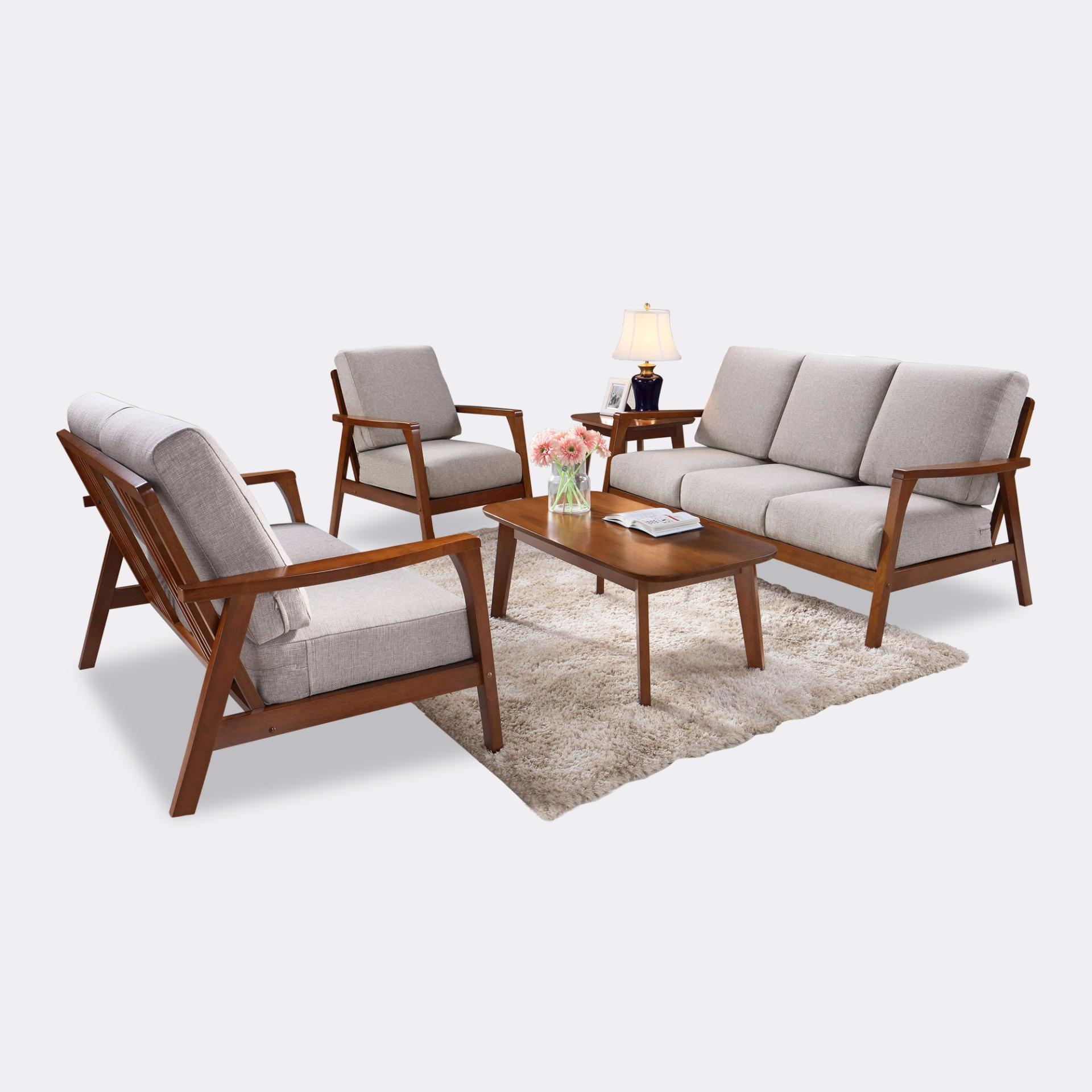 Anna 3+2+1 Wooden Sofa Set (FREE DELIVERY)