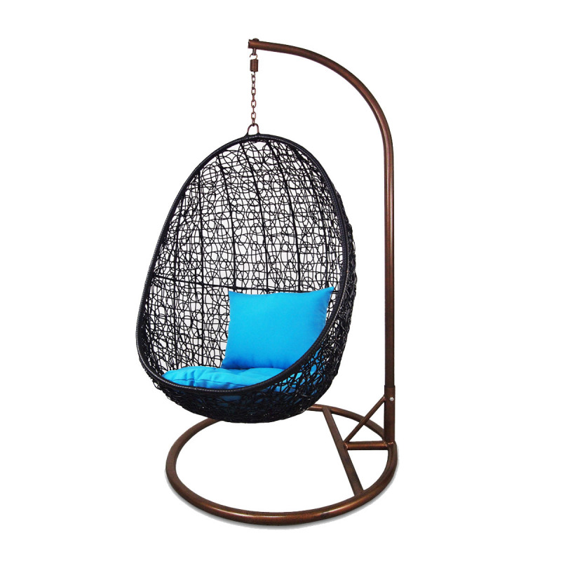 Arena Living Black Cocoon Swing Chair Orange Cushion