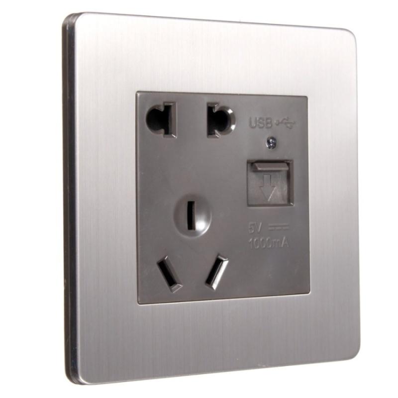 AU Plug 5-holes Wall Power Adapter Socket Charging OutletPlatePanel w/USB - intl