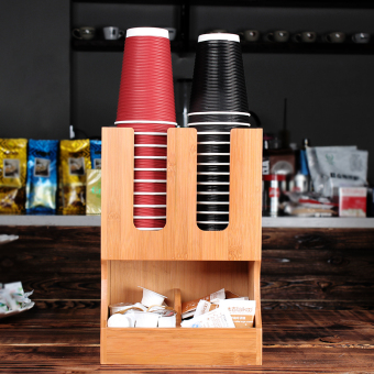 Bamboo Tea fruit drink to take the cup is disposable cups rackstorage box rack tea coffee shop supplies