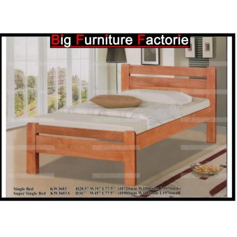 BFF-3603-WB Solid Wooden Bed (Cherry) - Single