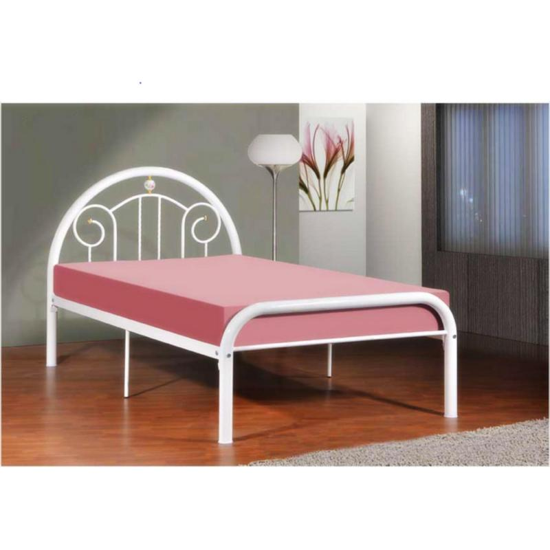 BFF-Becca Super Single Size Metal Bed (White)
