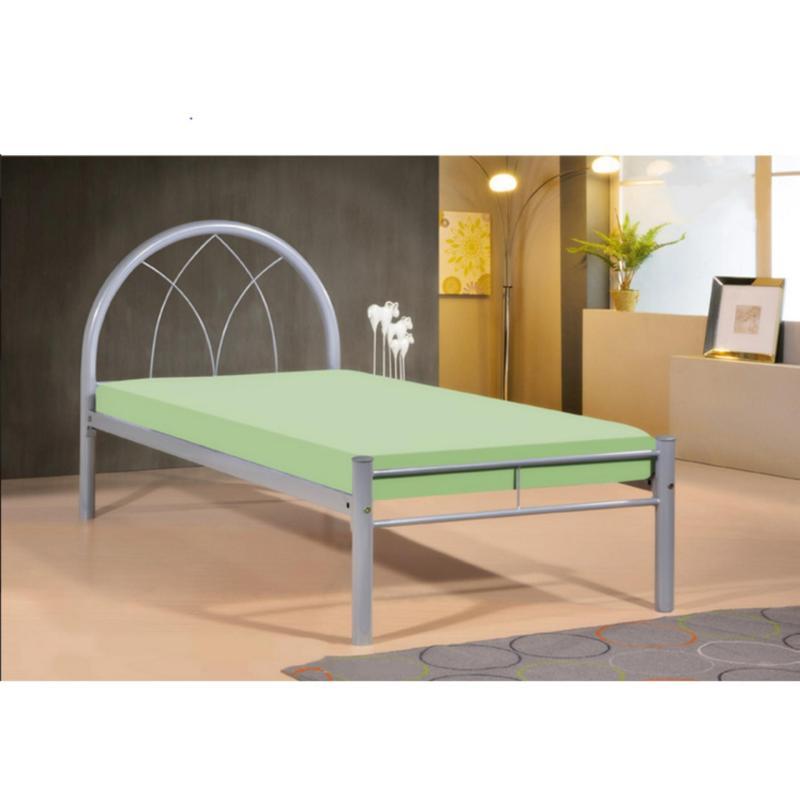 BFF-Milla Single Size Metal Bed (Grey)
