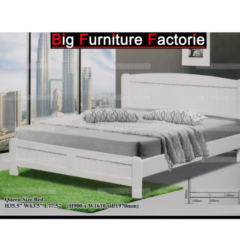 BFF5605-WB Solid Wooden Bed (White)