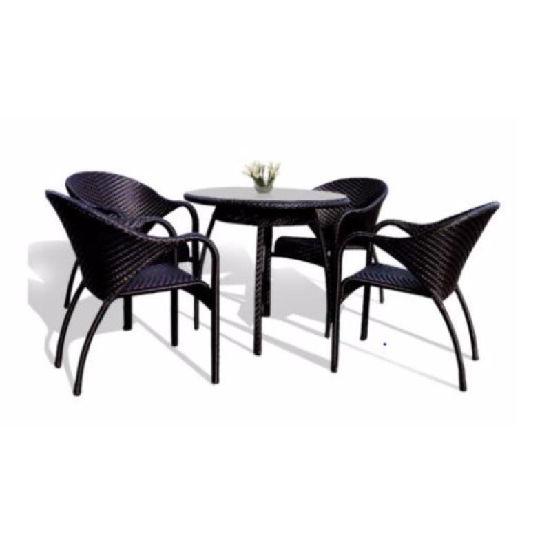 BFG Furniture Elba Dining Set Outdoor Furniture Rattan (Aluminium Frame)(Black)