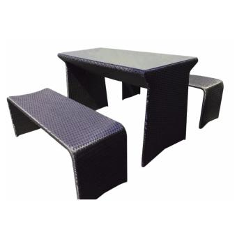 Harga BFG Furniture Rattan Picnic Table And Bench Set(Black)