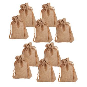 Harga BolehDeals 10pcs Linen Jute Cloth Sack Jewelry Pouch Drawstring Gift Bags Wedding Favor